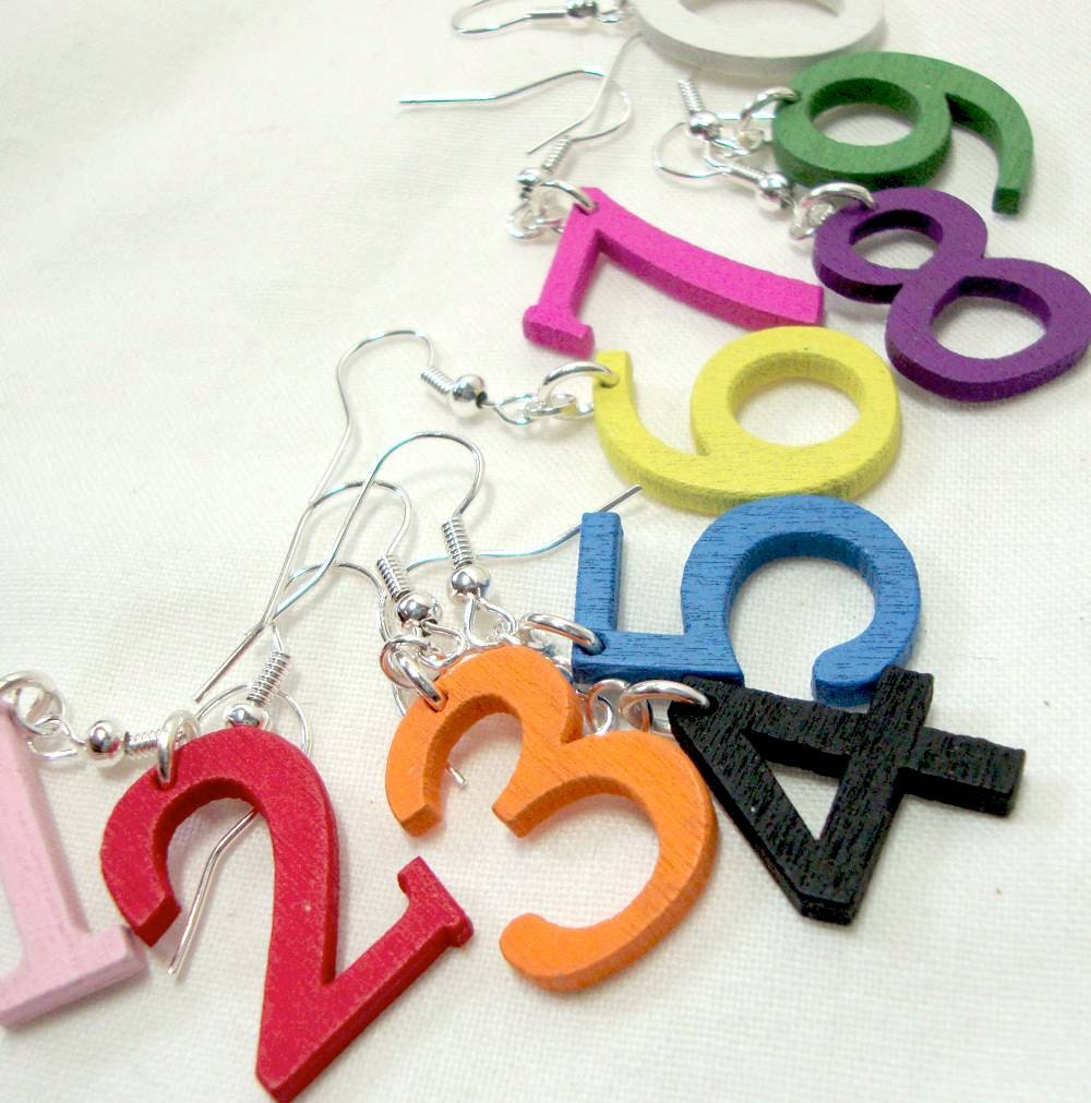 Number Earrings Wood Dangles in Pink Red Yellow Orange Black Green White Blue Purple - boomerville