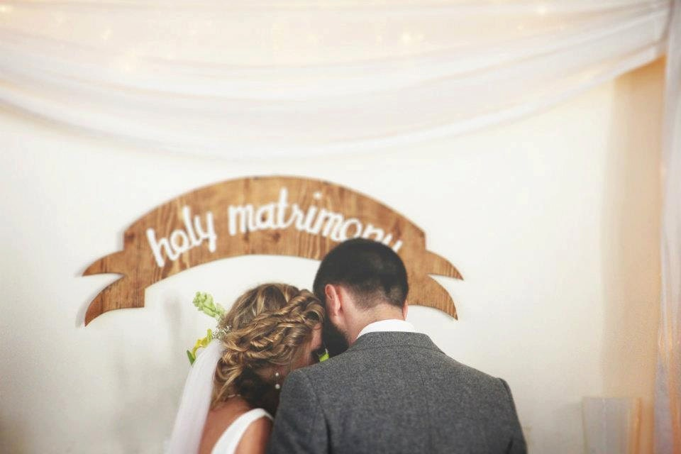 "wood wedding banner/sign- ""Holy Matrimony"" - yesdearstudio"