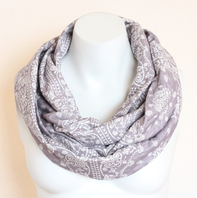 Purple Infinity Scarf Circle Loop Tube Cowl Scarf White Floral Spring Scarf Women Scarf