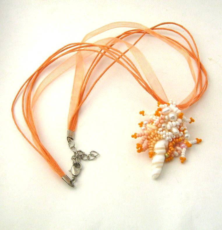 Cheerful summer freeform necklace, beaded necklace, beaded jewelry, beadwork, seed beads necklace,  orange, white - ibics