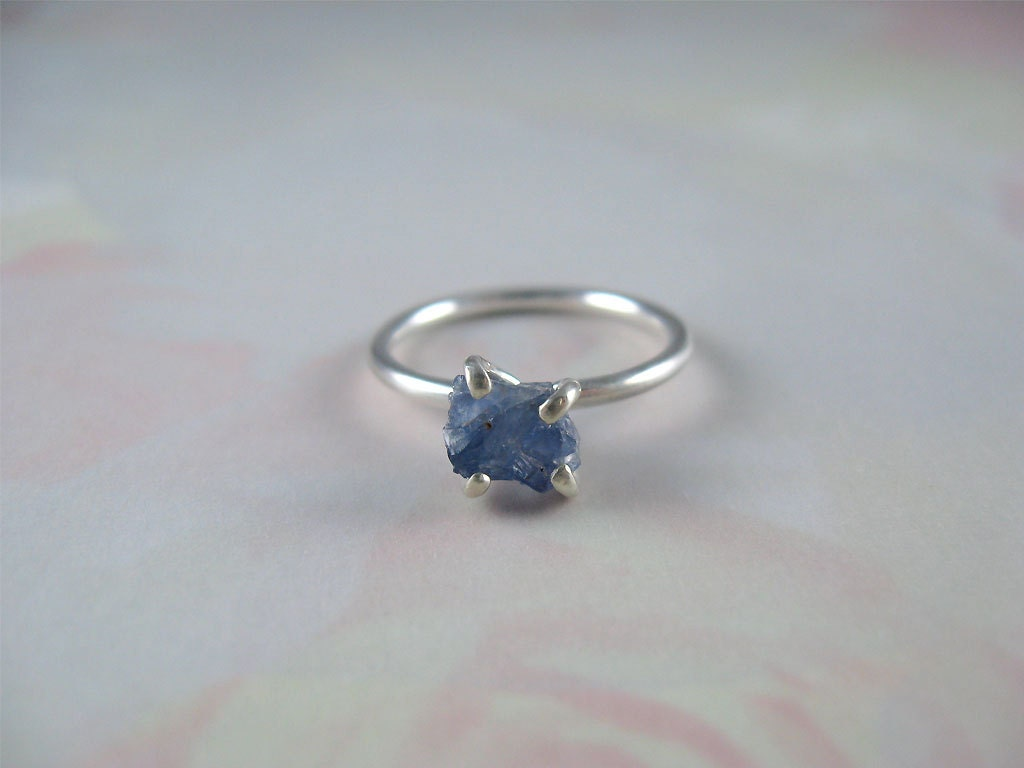 Raw Uncut Sapphire Rustic Prong Sterling Silver Ring Available in Size 6