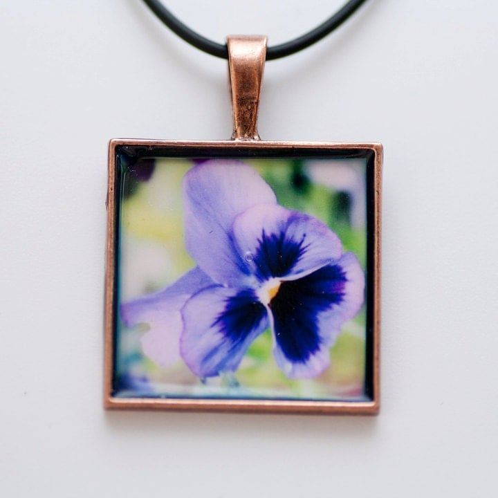 Mothers Day Purple Flower Photo Pendant - READY TO SHIP - Fine Art Photography