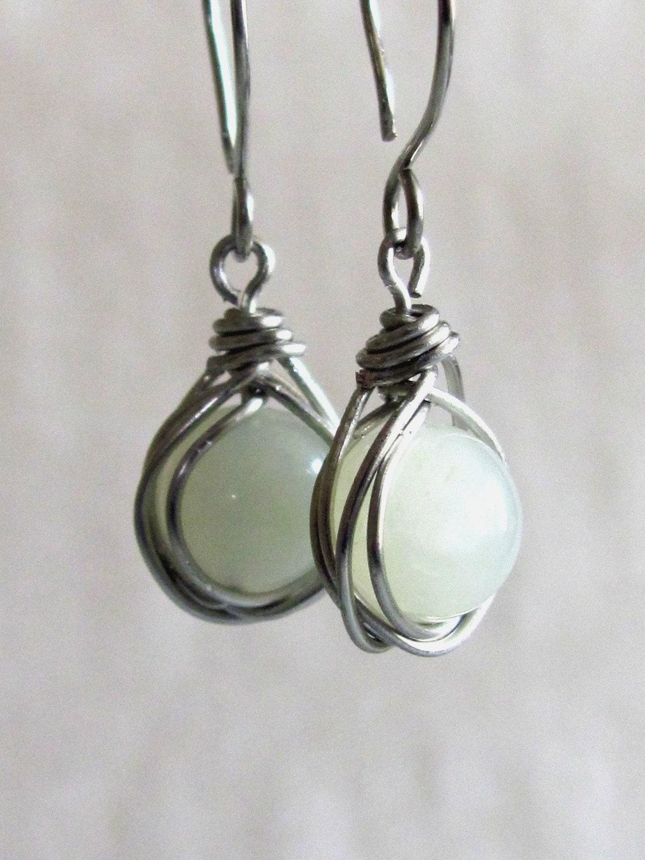 Celadon Green Wrapped Bead Earrings (G187) - KGraysonDesign