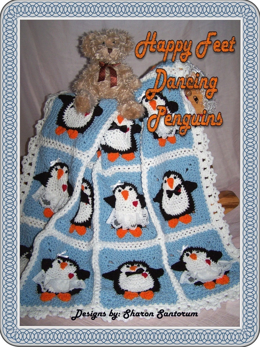 Dancing Penguins Crochet Baby Afghan or Blanket Pattern PDF