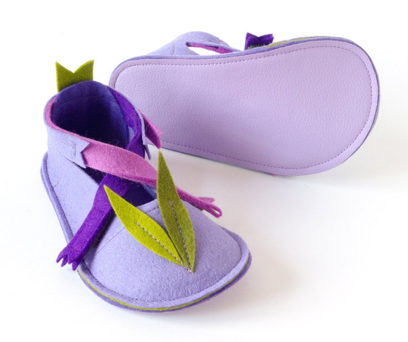 Toddler mary jane slippers, LaLa Lavender girls house shoes with non slip soles, pure wool felt girls booties