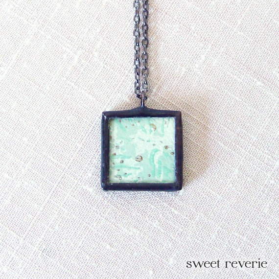 Retro Kitsch Minimal Print Mint Aqua Blue Turquoise Bronze Vintage Mid Century Wallpaper Pendant Necklace, Soldered Glass, Summer Jewelry - asweetreverie