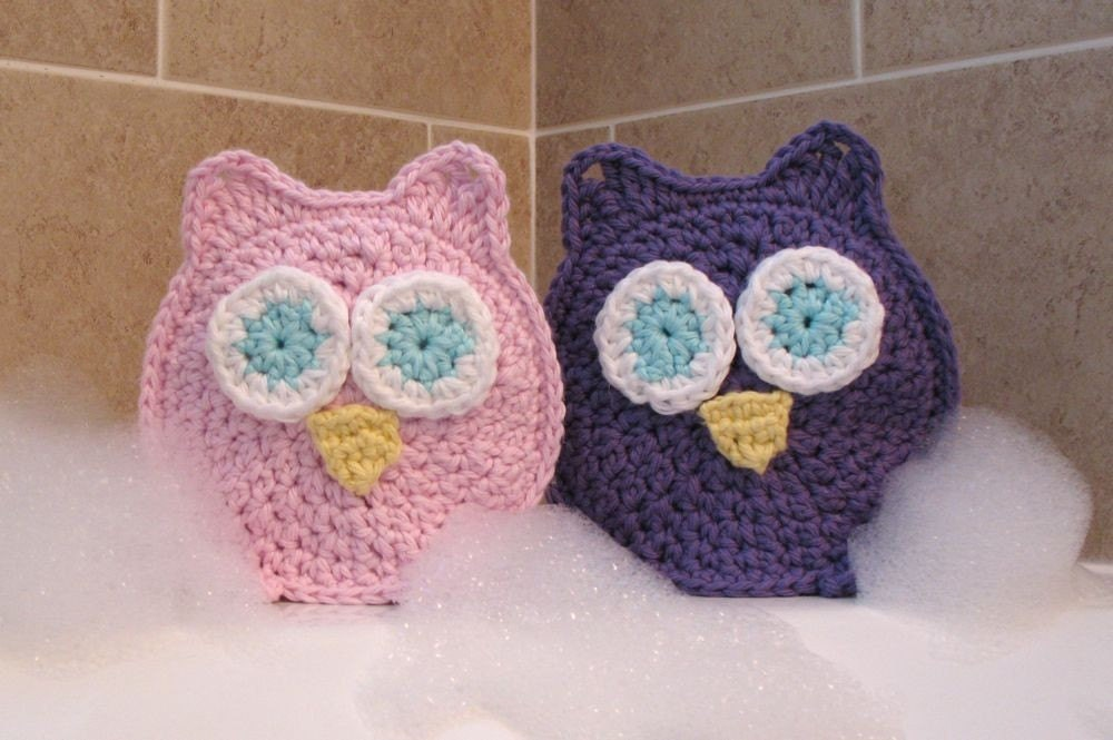 Owl Washcloths Bath Mitts Bath time's a HOOT with Sydney and Simone Valentine Gift - abbycove