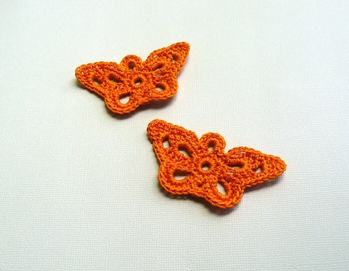 2 Crochet Butterfly Appliques -- Pumpkin Orange