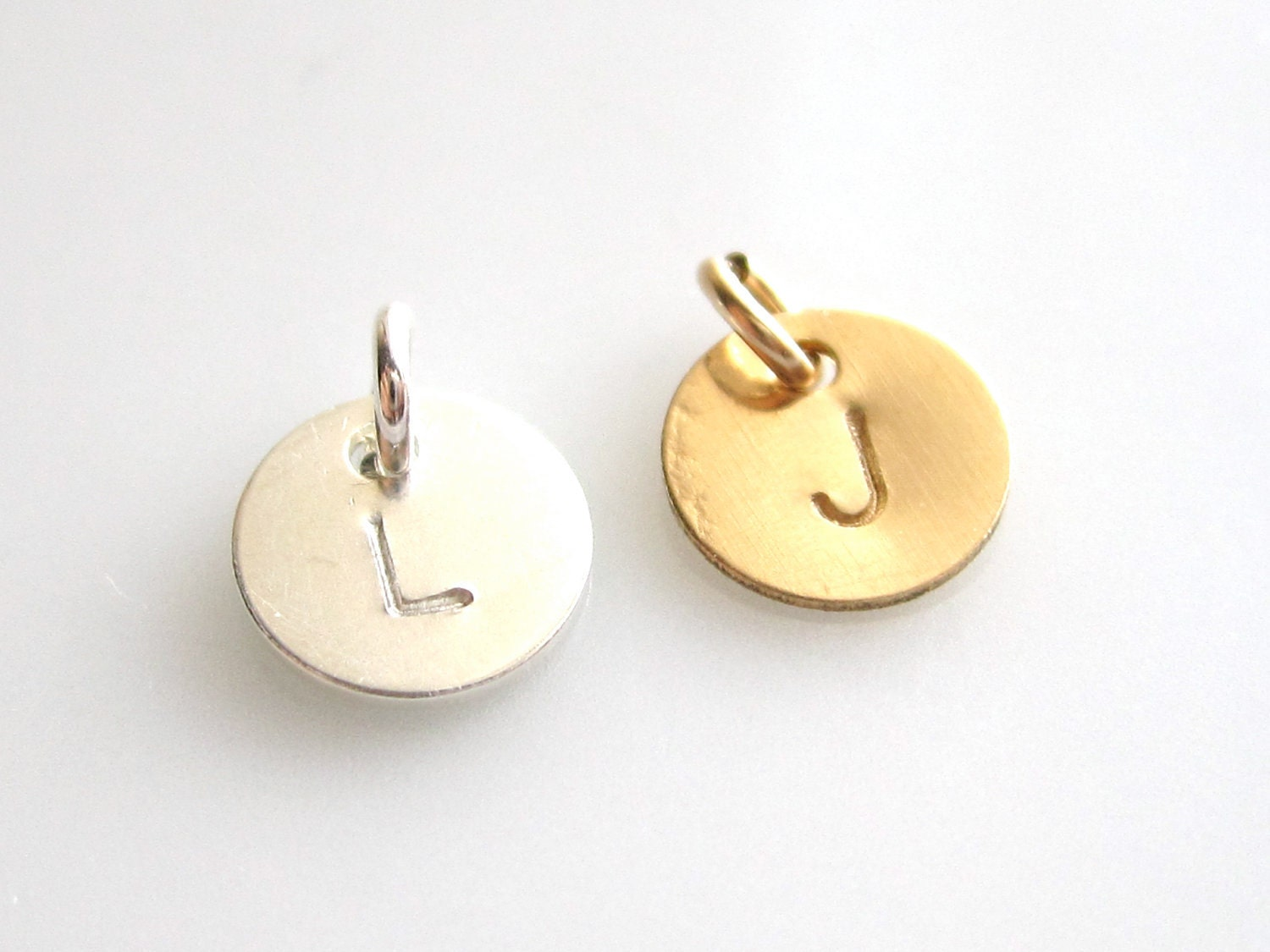 Add Extra Initial to any Necklace ,Bracelet - 14k gold Filled or 925 Sterling Silver -  ONE Hand Stamped Charm