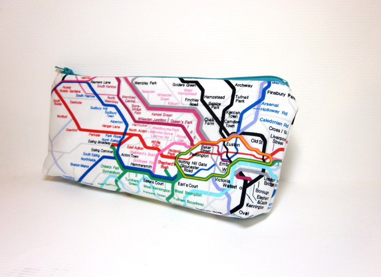 Medium  Zipper Pouch Pencil Case Travel Bag  London Underground - handjstarcreations