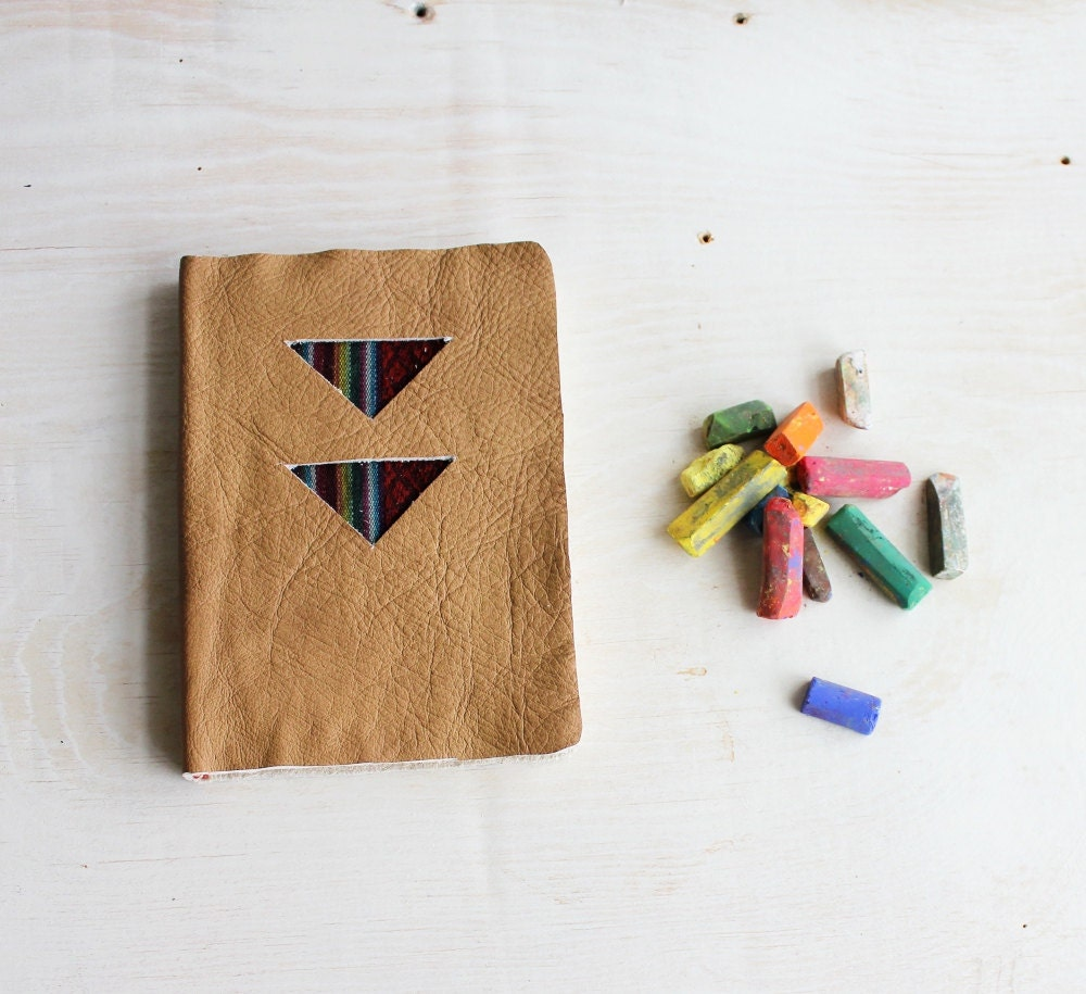 gEoMeTriC  artist's journal Tan Leather and Navajo