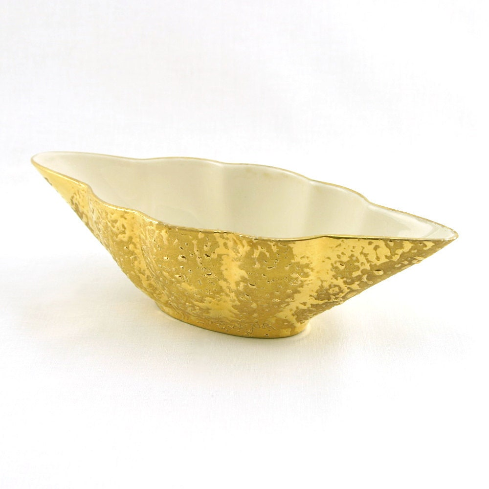Weeping Gold Bowl, Kingwood Ceramics Art Pottery, 1940s, Weeping-Bright Gold