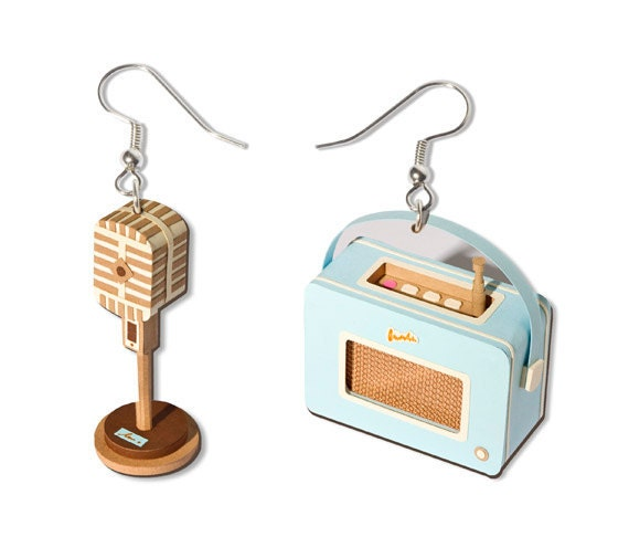 Vintage Radio Earrings, Blue or Green