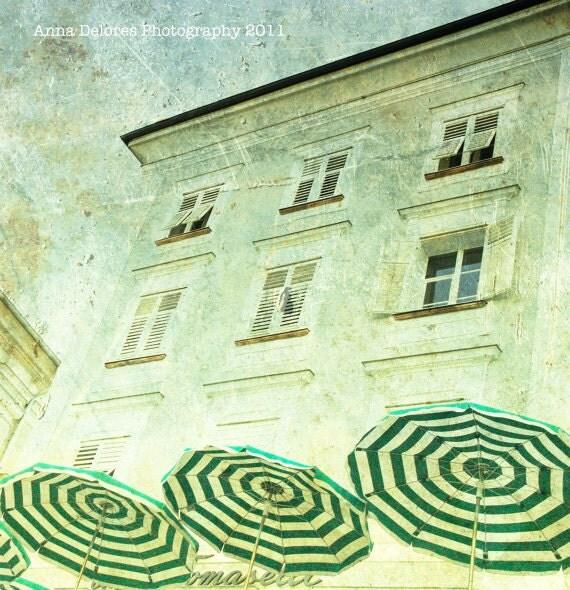 "Green Striped Umbrellas at a Cafe in Salzburg, Austria - Fine Art Photography 8x8"" Matte Print"