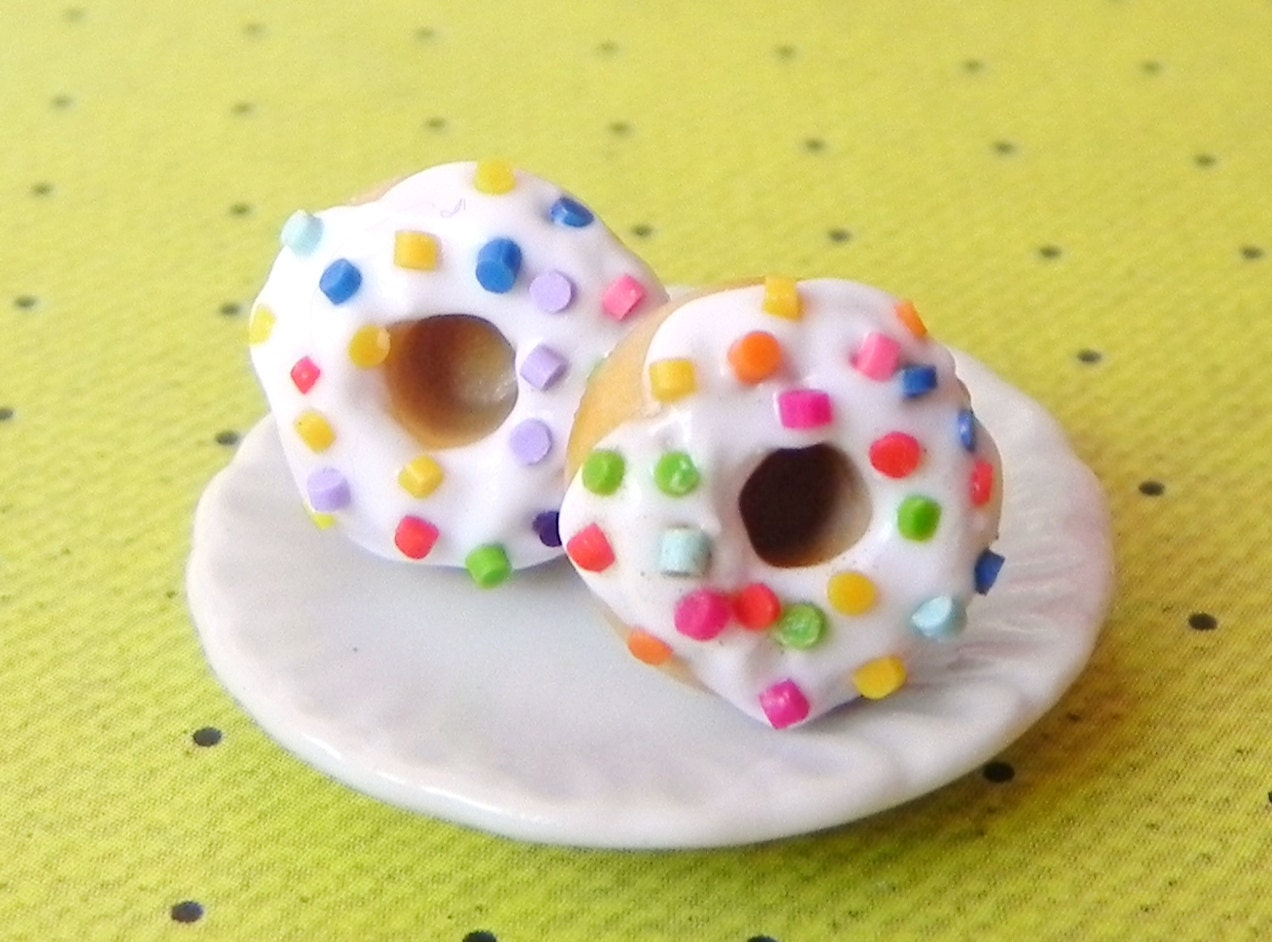 Colorful donut post earrings