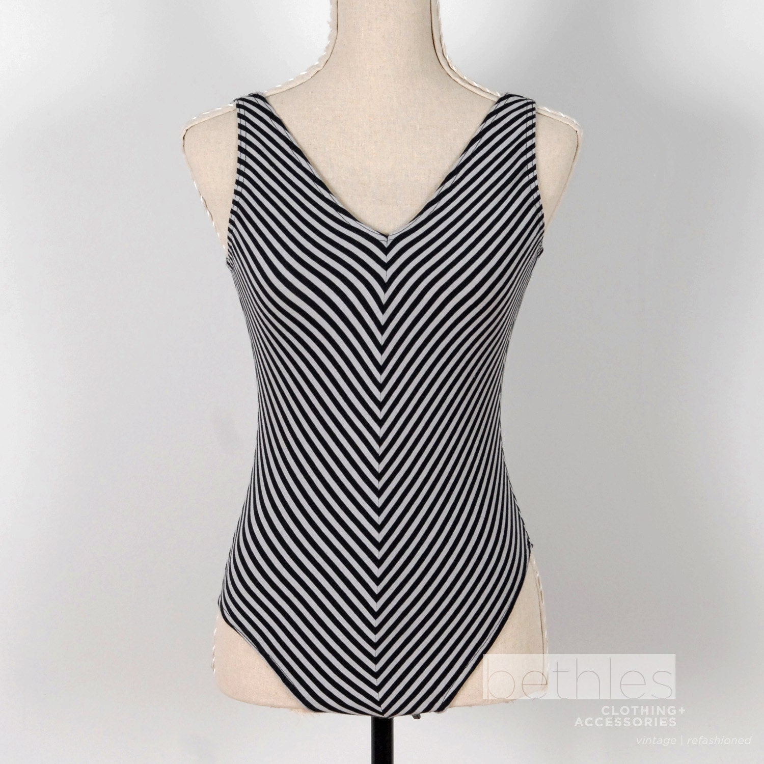Grey White Stripes Leotard One Piece Sleeveless Vintage 80s Bodylines Medium - Bethlesvintage