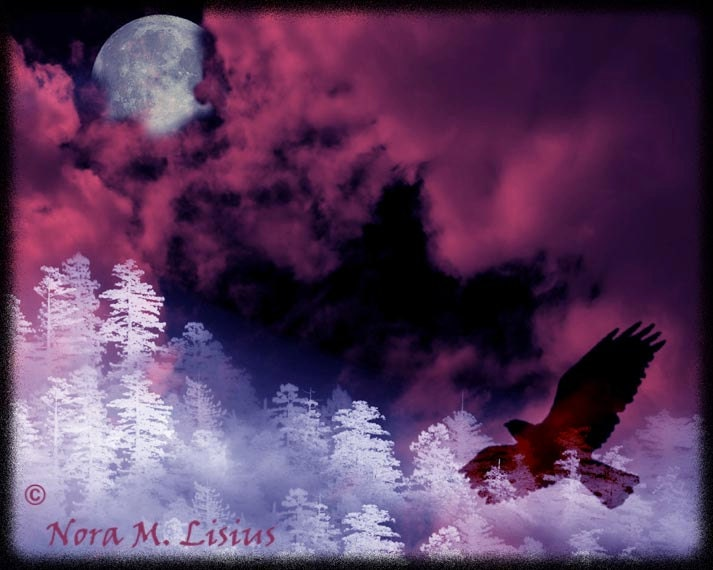 Raven Moon in Winter 8 x 10 Fine Art Print - fullmoonhowling