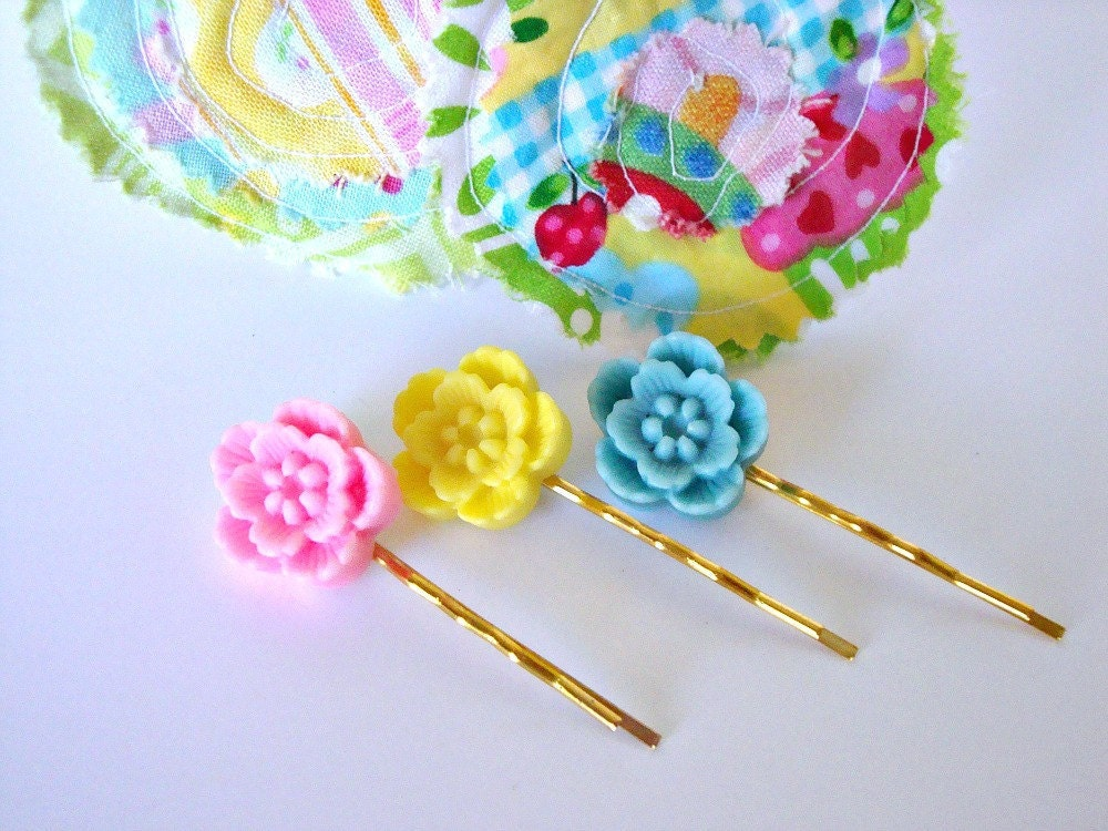 TAKE 35 % OFF SALE, Floral Bobby Pins, Hair Accessories, Children, Pink, Yellow, and Light Blue