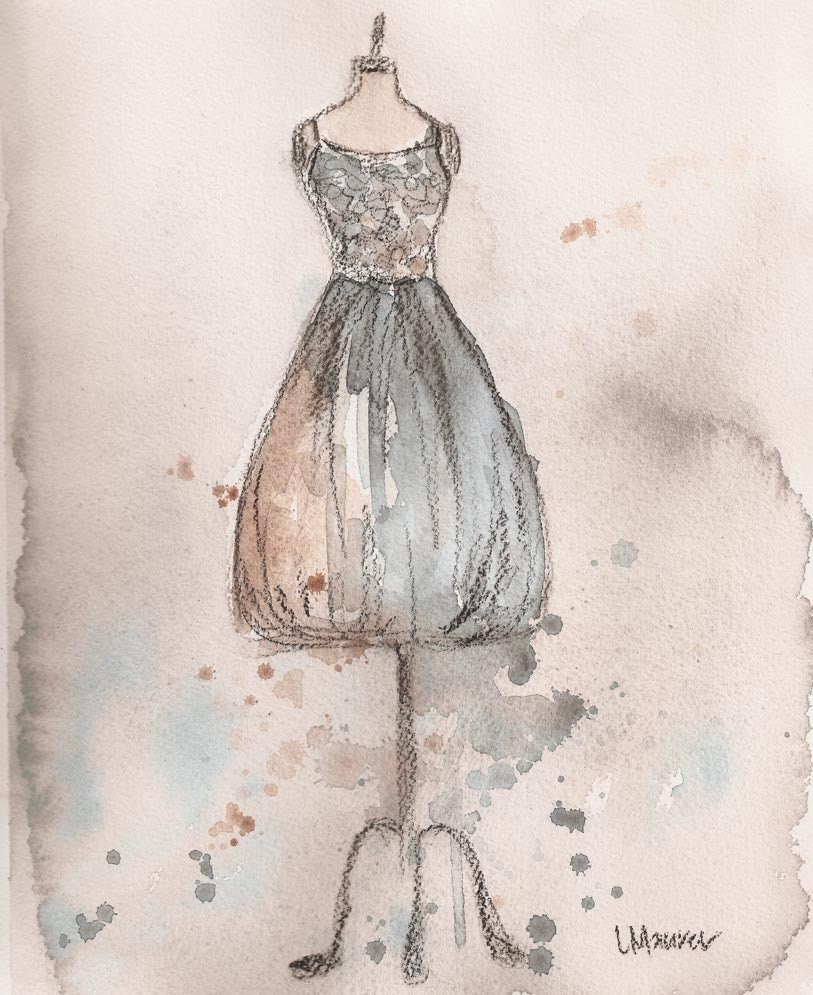 Print - Watercolor and Charcoal Painting - Vintage Strapless Champagne Dress - 10x13