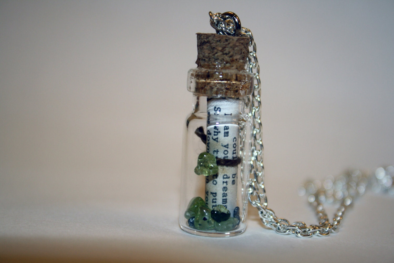 Song Lyrics in a bottle necklace