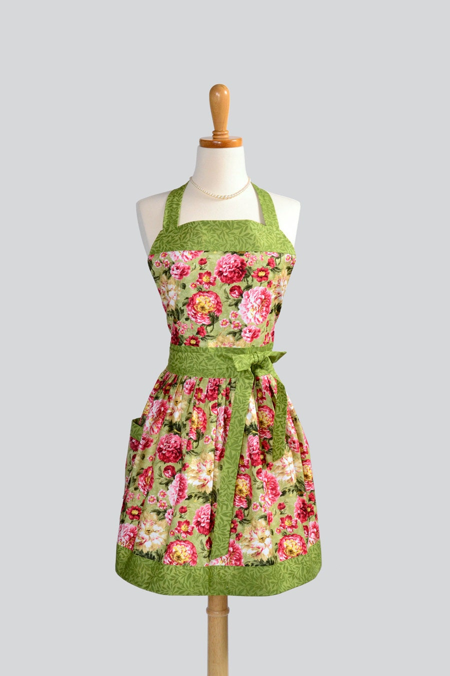 Womens Bib Full Apron - Handmade English Garden Pink and Green Floral Cute Kitchen Apron