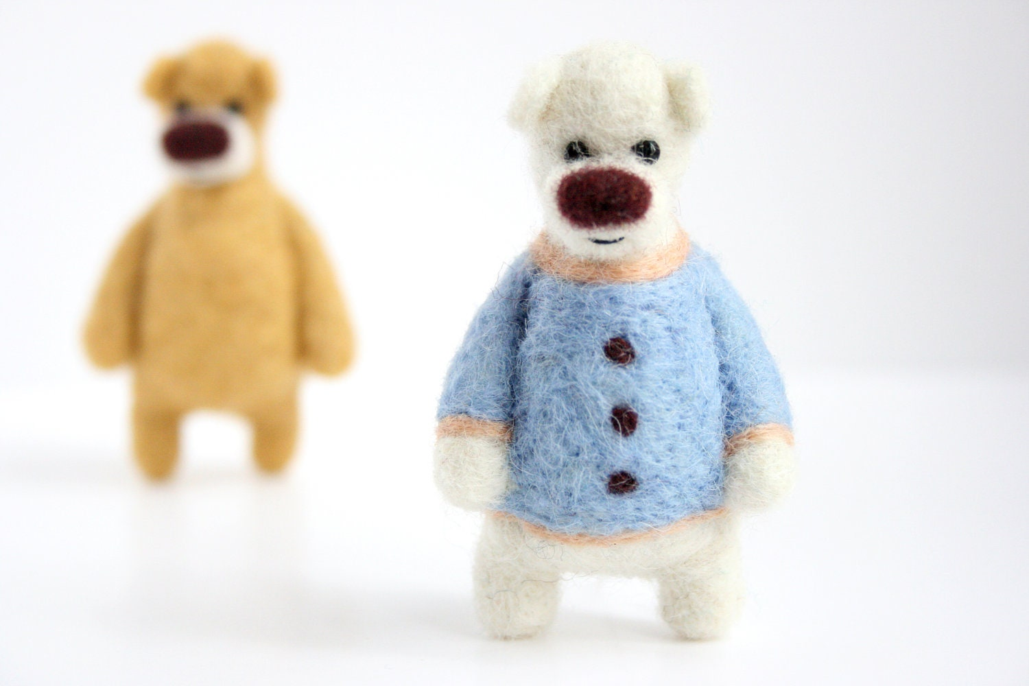 Little white felted bear with a light blue sweater and a cream collar, brooch - gabrielefelt