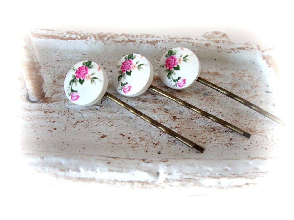 Floral Bobby Pins, Hair Accessories, Children, Pink Roses, Cottage Chic