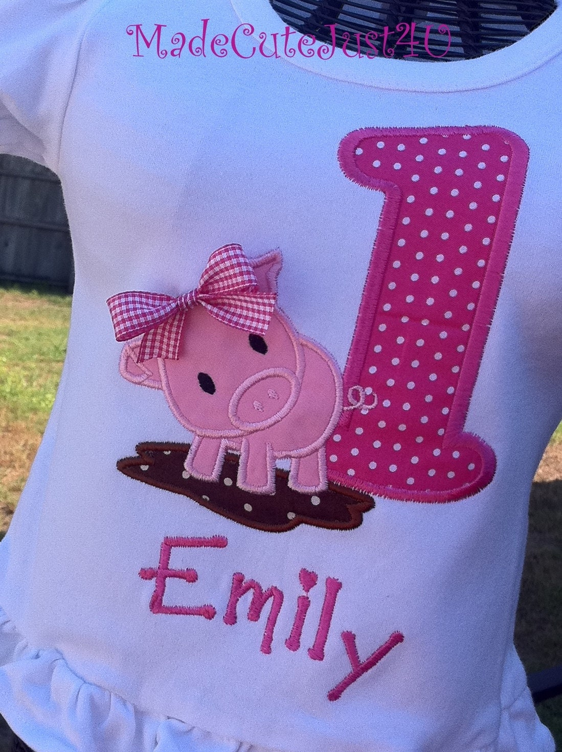 Piggy Themed Personalized Birthday Number Shirt