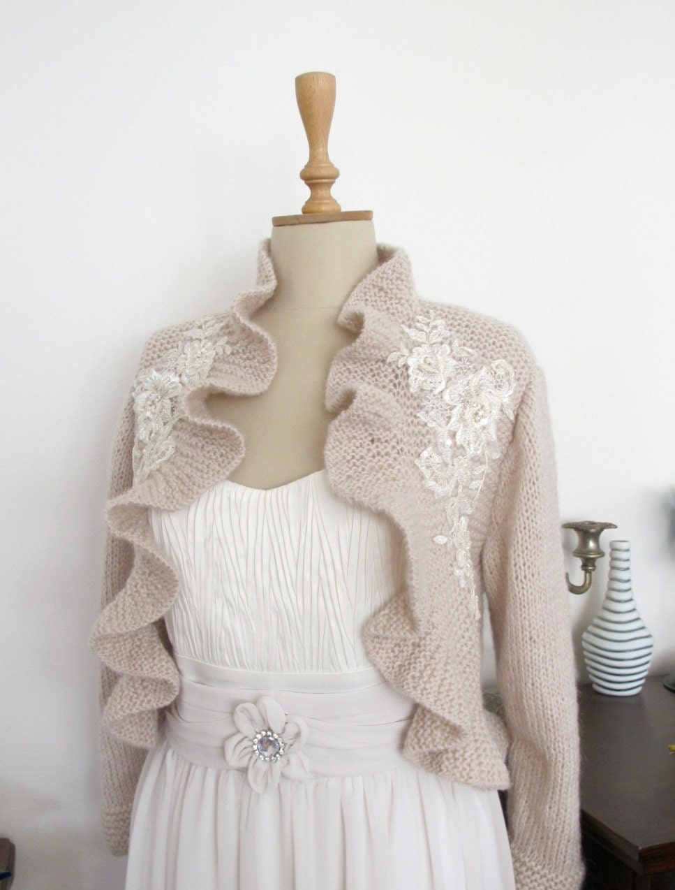 Bridal Ruffle Bolero with Beaded Lace Wedding Shrug Shawl Wrap Capelet  3/4 sleeve Champagne Capuccino
