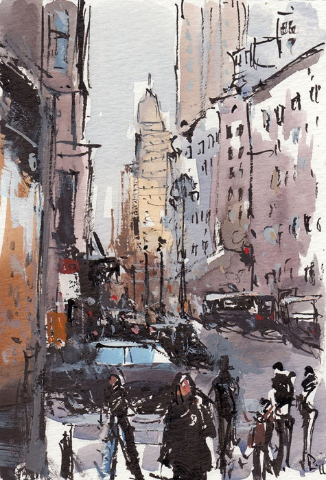 Art Print City Street People Modern Painting Sketch 5x7 on 8x10 - Bustle by David Lloyd - lloydgallery