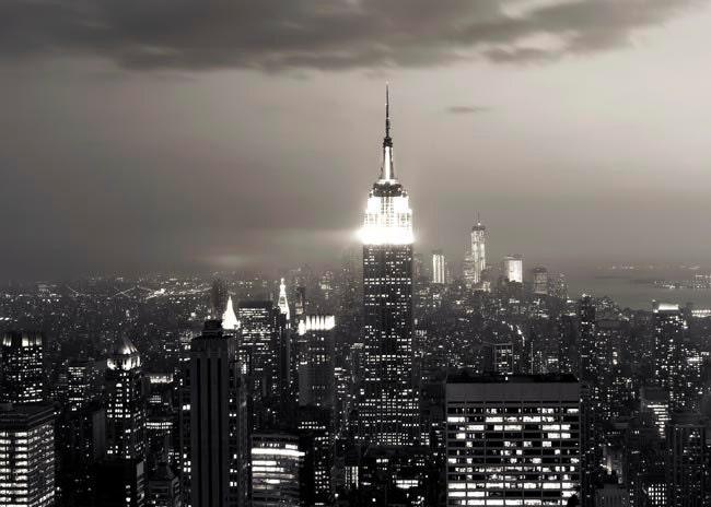 New York city, black and white photography, fog, mist, wall decor, dark 5x7 travel print - Raceytay