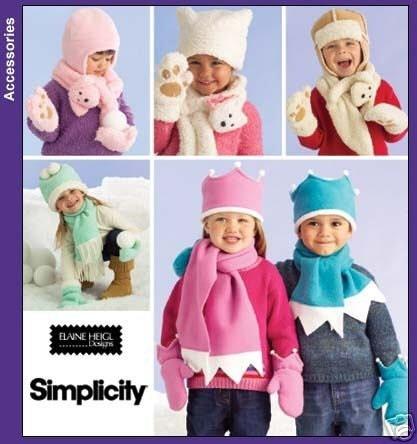 Butterick 4881 Children's Fleece Hat/Mittens PATTERN Kid's