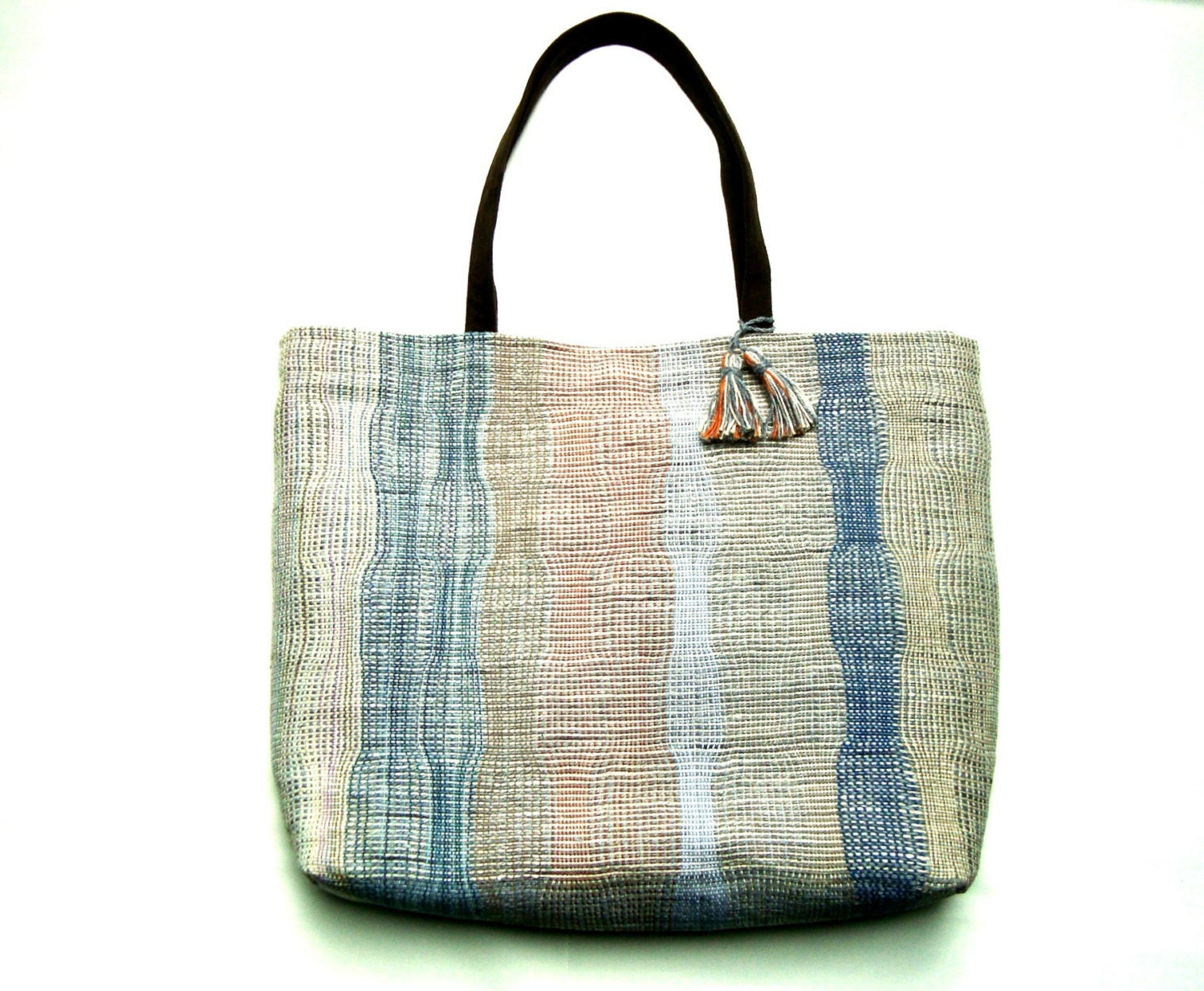 Unique Urban Tote Bag,Casual Tote Bag, Handwoven, Large, OOAK Beige,Blue - PenelopePouch
