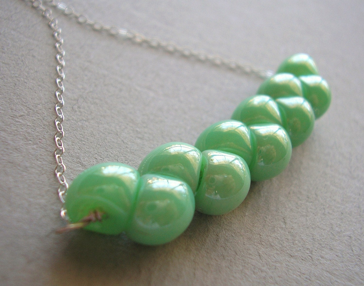 RESERVED Seafoam Czech Glass Sterling Necklace LUXE LINE