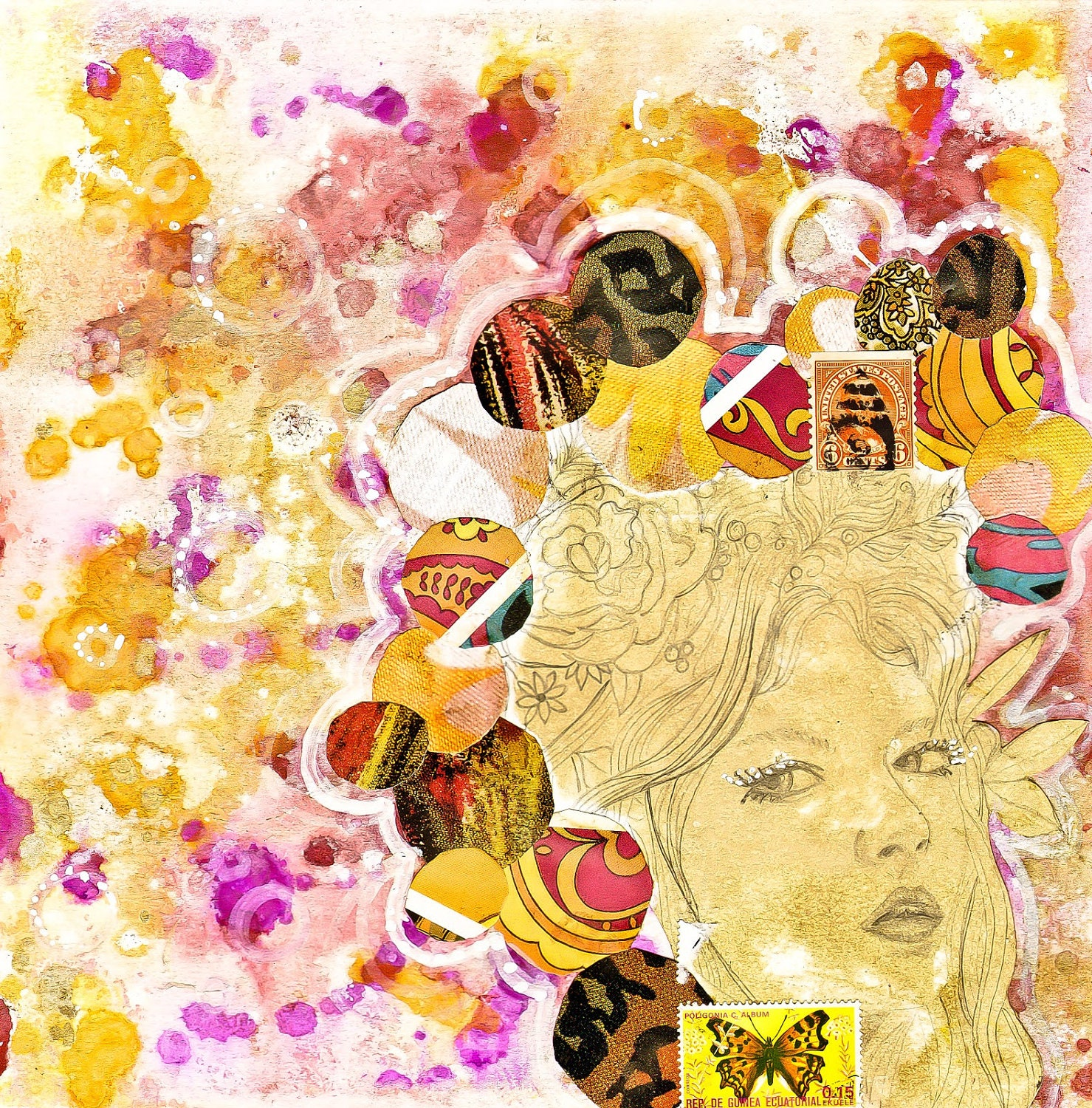 Day 8 - original mixed media painting 40 works in 40 days project magenta orange yellow female face - Jenndalyn