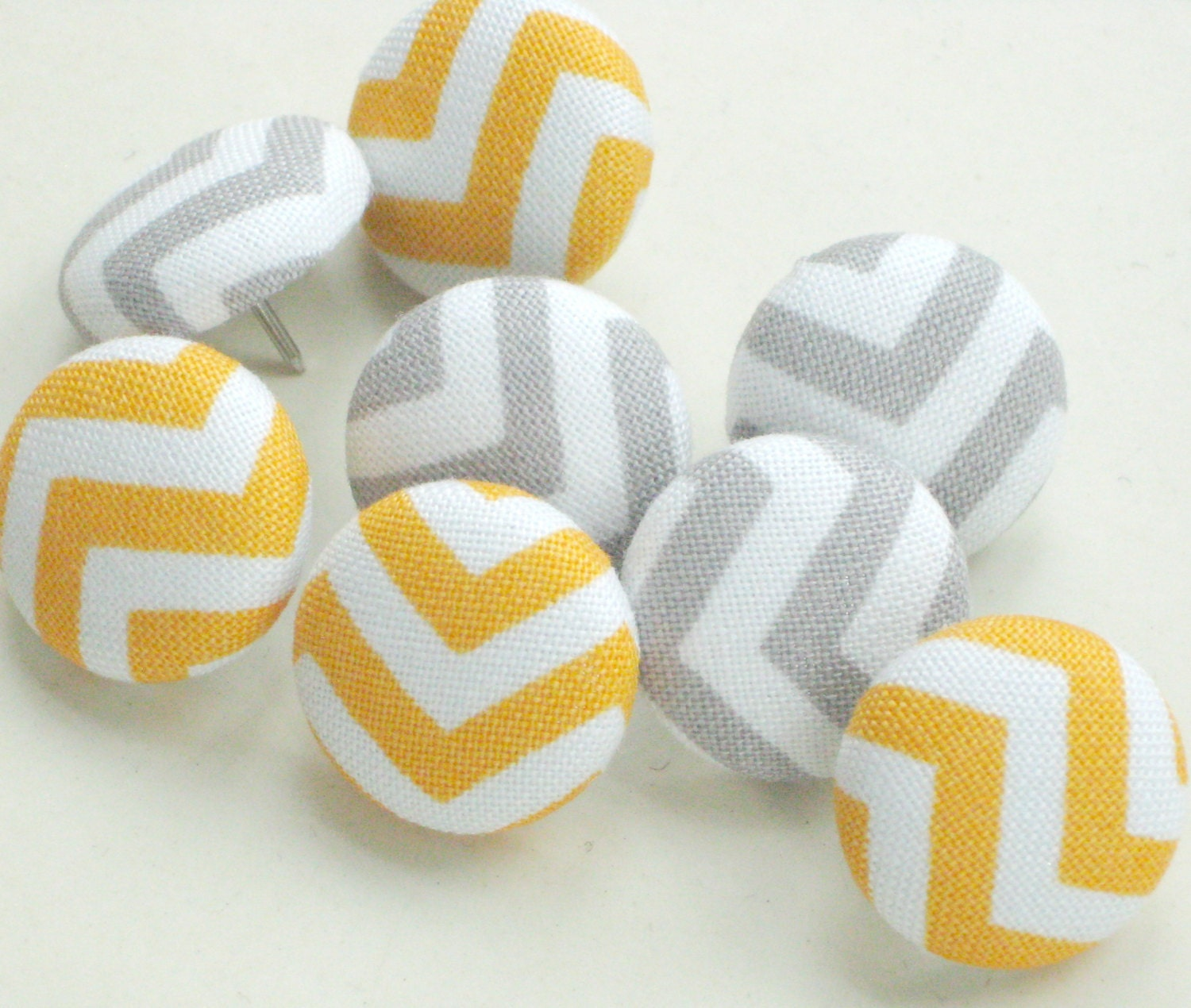 Chevron in Golden Yellow & Gray . . .Tack Pack of 8. Fabric Push Pins. Pushpins - PaperPumpkin