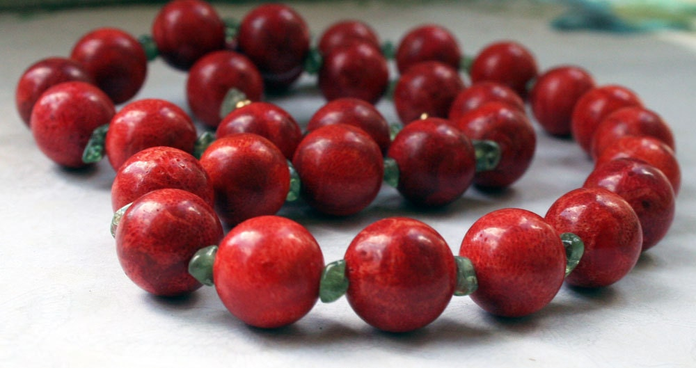 Chunky Red Autumn Necklace, Red Apple Coral and Light Green Peridot, Gold and Fall Colors