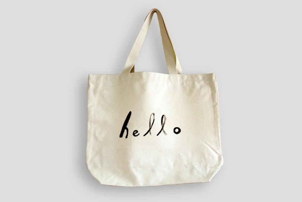 hello / Hand painted eco bag - breezysat