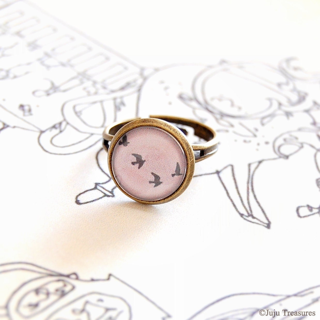 Flock of Birds Adjustable Ring... Pink, Grey, Glass Dome, Antique Brass... - JujuTreasures