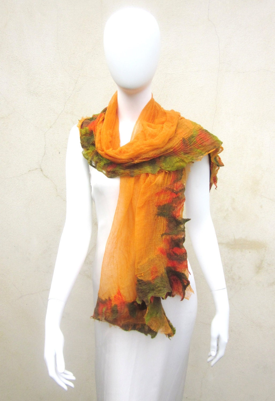 Nuno Felt Muslin Wrap Tangerine Orange  Boho Chic Gypsy Scarf Autumn Leaves Summer Raw Edge - juliaheartfelt