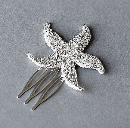 Rhinestone Bridal Hair Comb Beach Wedding Jewelry Crystal Starfish Clip FREE Combine Shipping US CM031LX