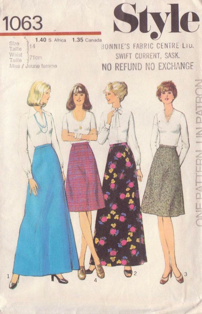 "1970s Vintage Style Skirt Sewing Pattern-Waist 28"" UNCUT"