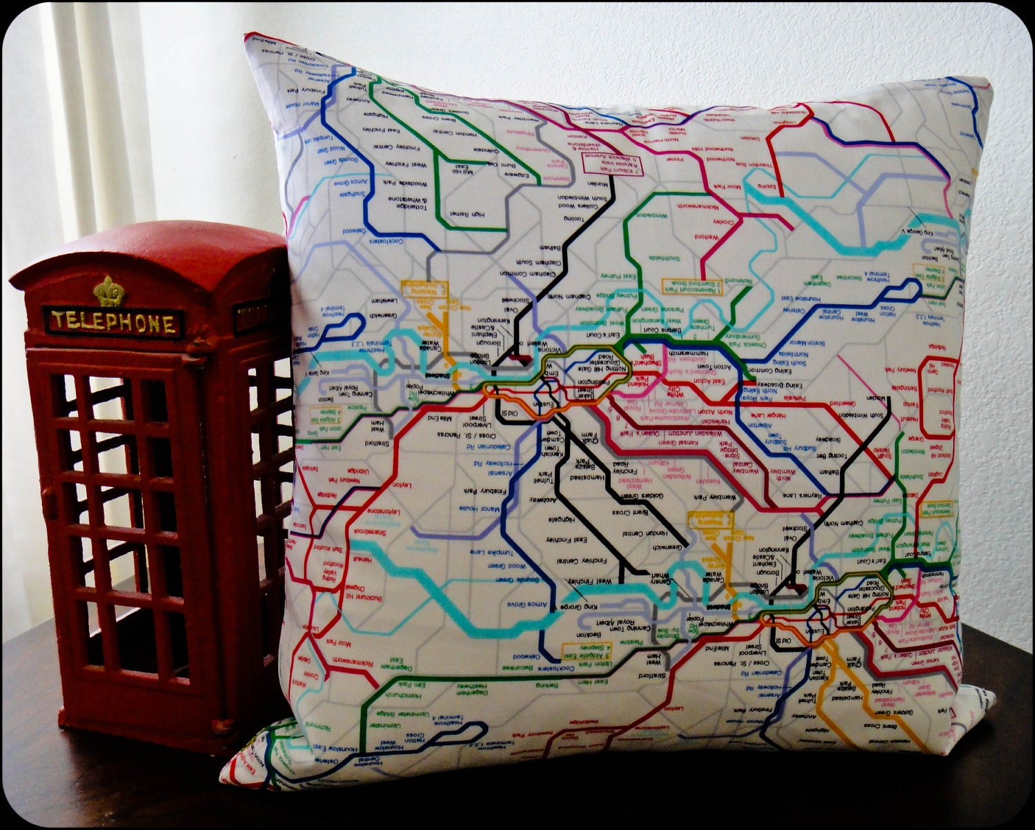 London 2012 Accent Pillow, 18x18 London Underground Tube Map Print Pillow, Colorful Throw Pillow, Designer Throw Pillow, Envelope Pillow