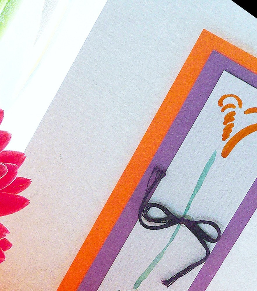 Hand Painted Heart Flower  Note Cards Pack of 6 Personalized in Bright  Colors