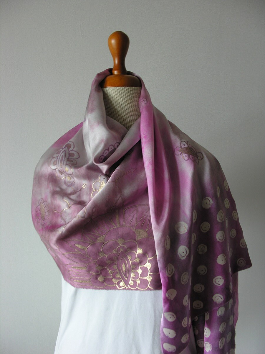 Hand painted- silk scarf- pink purple gold grey- indian style- original- elegant- romantic- how to wear a scarf tutorial. - DiSeta