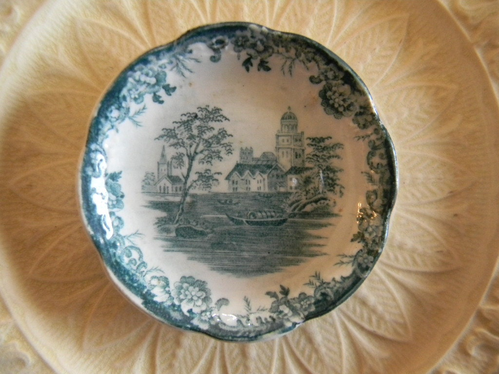 Antique Teal Green Transferware   Butter Pat Salt Dip Togo Lake Rowboat Flowers