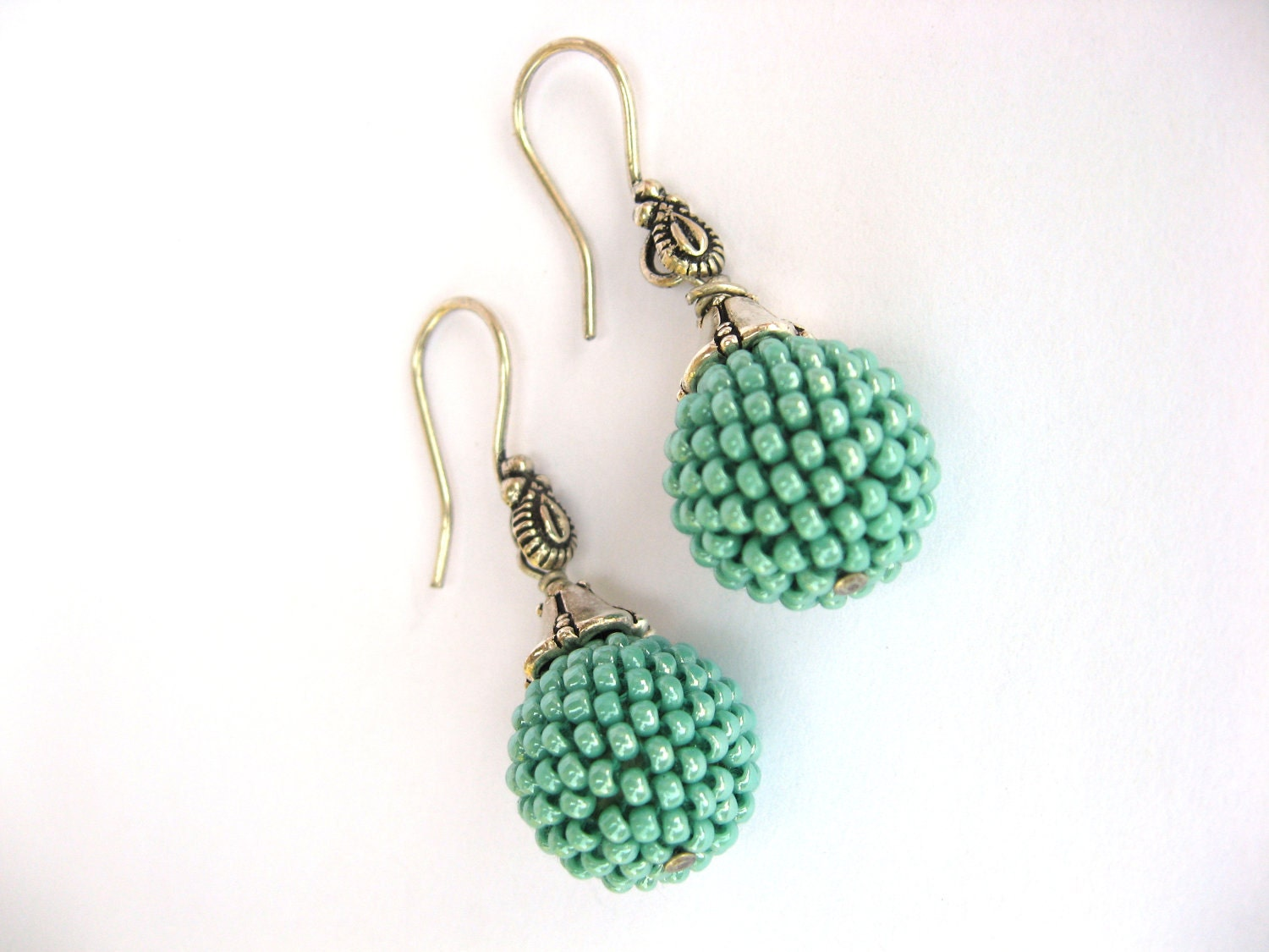 Beaded Bead earrings Turquoise  Minimalist  Gift under 20   rusteam   TT team - LeeMarina