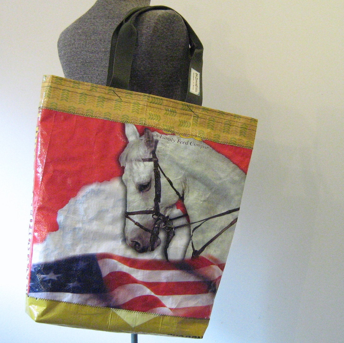 Repurposed Horse Feed Bag Tote, Market Bag, Beach Tote - OneWomanStudio