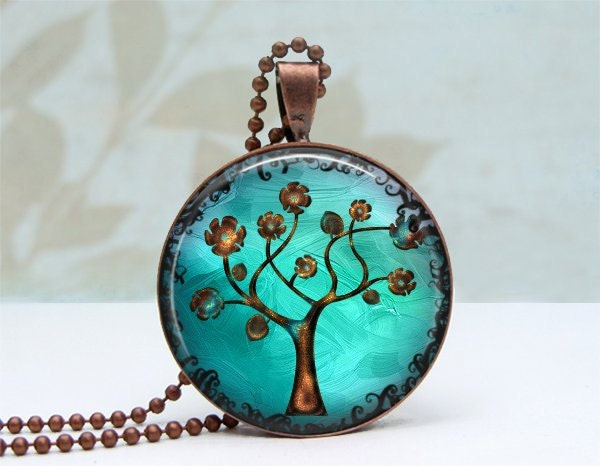 SALE Copper Tree Pendant Glass Dome Art Pendant Vintage Copper Picture Pendant Photo Pendant Wearable Art Jewelry by Lizabettas