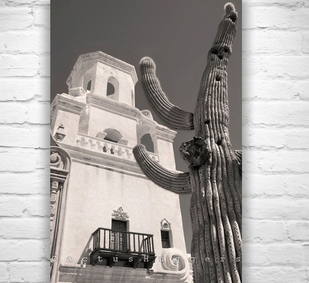 San Xavier Mission Art Print Tucson Arizona sepia Photograph southwest art photography 8x12